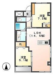 愛知県名古屋市名東区高針原2丁目の賃貸マンションの間取り