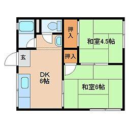 奈良県奈良市十輪院町の賃貸アパートの間取り