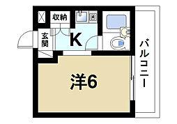 ふじやマンション 3階ワンルームの間取り
