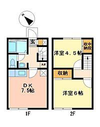 兵庫県姫路市飾磨区妻鹿の賃貸アパートの間取り