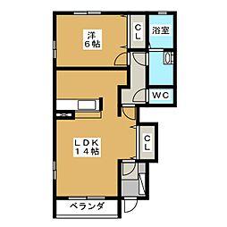 静岡県静岡市葵区安東3丁目の賃貸アパートの間取り