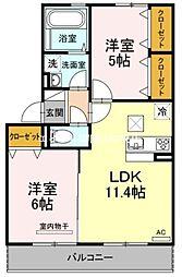 岡山県岡山市北区今保の賃貸アパートの間取り