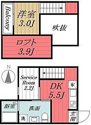 千葉県千葉市中央区東千葉1丁目の賃貸アパートの間取り