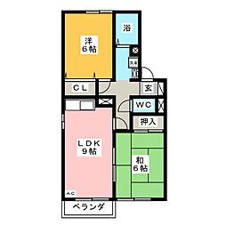 セジュール宝町 B棟[2階]の間取り