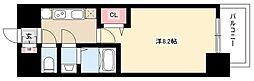 プレサンス丸の内アデル 15階1Kの間取り
