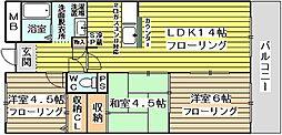 生島リバーサイドマンションD棟[302号室]の間取り