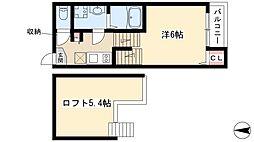 グランシエロ名古屋黄金 2階1Kの間取り