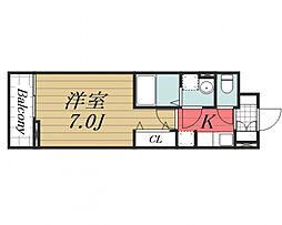 京成本線 公津の杜駅 徒歩22分の賃貸アパート 3階1Kの間取り