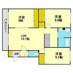 北海道札幌市厚別区上野幌一条3丁目の賃貸アパートの間取り