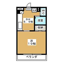 コスモ33 2階1DKの間取り