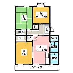 コーポ岡田[1階]の間取り