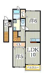 プラシード白井B[2階]の間取り