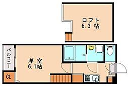 西鉄貝塚線 名島駅 徒歩9分の賃貸アパート 2階1Kの間取り