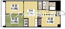 岡山県岡山市北区大元2丁目の賃貸マンションの間取り