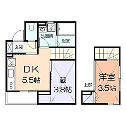 京王相模原線 京王稲田堤駅 徒歩6分の賃貸アパート 1階1DKの間取り