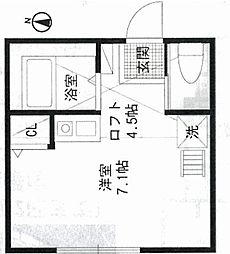 神奈川県横浜市西区東久保町の賃貸アパートの間取り