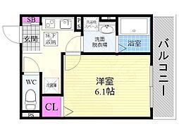 京阪本線 龍谷大前深草駅 徒歩10分の賃貸マンション 1階1Kの間取り