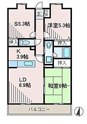 サニーフラット新百合[3階]の間取り