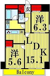 ロイヤルKJ[13階]の間取り