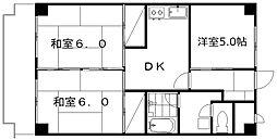 レジオン田辺[5階]の間取り