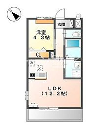 仮 北条町横尾新築アパートH30年3月[1階]の間取り