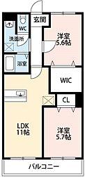 ワンズホーム北野 1階2LDKの間取り