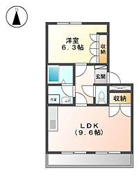 Villa花水木Ⅱ[2階]の間取り