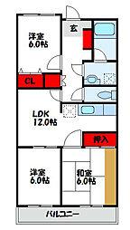 福岡県宗像市日の里2丁目の賃貸マンションの間取り