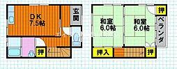 岡山県岡山市東区東平島の賃貸アパートの間取り