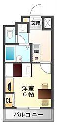 レオパレスFlat江坂[4階]の間取り