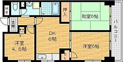 新森グレイス 3階3DKの間取り