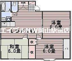 岡山県岡山市南区西高崎の賃貸アパートの間取り