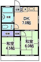 神奈川県川崎市宮前区初山1丁目の賃貸アパートの間取り