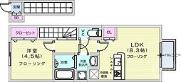 JR東北本線 南仙台駅 徒歩11分の賃貸アパート 2階1LDKの間取り