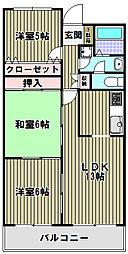 大阪府堺市北区百舌鳥陵南町3丁の賃貸マンションの間取り