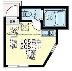 横浜市営地下鉄ブルーライン 三ツ沢下町駅 徒歩10分の賃貸アパート 2階ワンルームの間取り