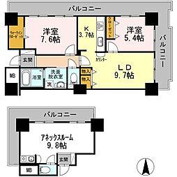 東京臨海高速鉄道りんかい線 品川シーサイド駅 徒歩3分の賃貸マンション 12階3LDKの間取り