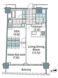 コンフォリア新宿イーストサイドタワー 5階2LDKの間取り