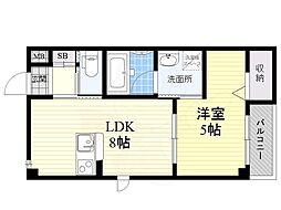 京阪本線 古川橋駅 徒歩11分の賃貸マンション 2階1LDKの間取り