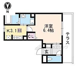 JR山陰本線 円町駅 バス6分 わら天神前下車 徒歩1分の賃貸アパート 1階1Kの間取り