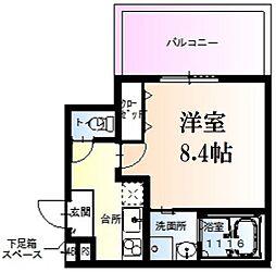 阪急神戸本線 西宮北口駅 徒歩14分の賃貸アパート 3階1Kの間取り