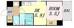 サムティ福島Rufle 9階1DKの間取り
