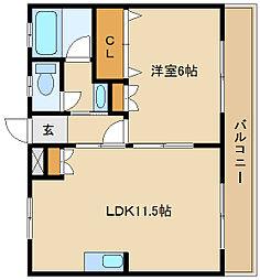 ミスターK北武庫之荘[2階]の間取り