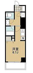 東急田園都市線 駒沢大学駅 徒歩2分の賃貸マンション 13階ワンルームの間取り