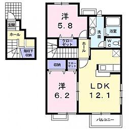 埼玉県熊谷市妻沼中央の賃貸アパートの間取り