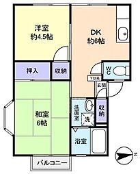 富士見ハイツB棟[2階]の間取り
