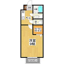 JR常磐線 土浦駅 バス20分 木田余下車 徒歩5分の賃貸アパート 1階1Kの間取り