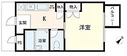 ウイング散田[4階]の間取り