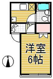 尊井ハウス[203号室]の間取り