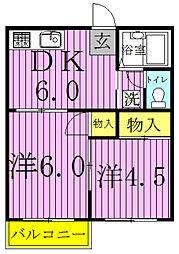 ファミーユ佐津間[205号室]の間取り